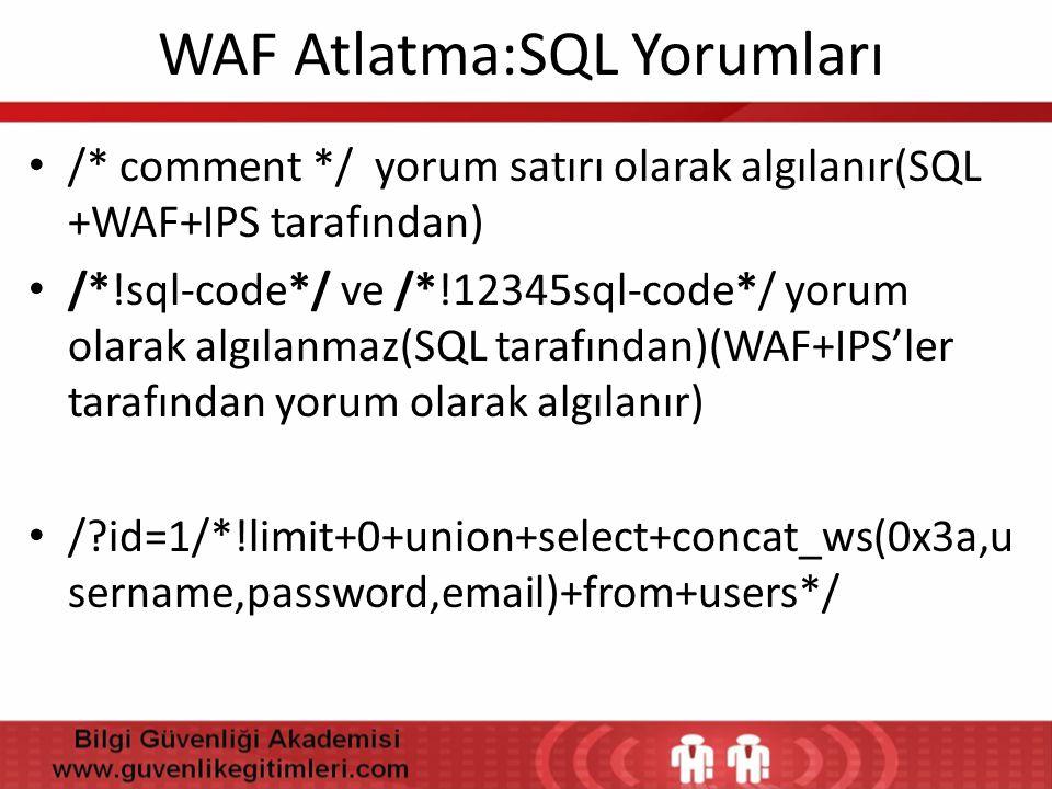 WAF Atlatma:SQL Yorumları • /* comment */ yorum satırı olarak algılanır(SQL +WAF+IPS tarafından) • /*!sql-code*/ ve /*!12345sql-code*/ yorum olarak al