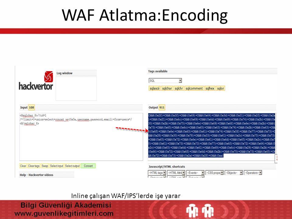 WAF Atlatma:Encoding Inline çalışan WAF/IPS'lerde işe yarar