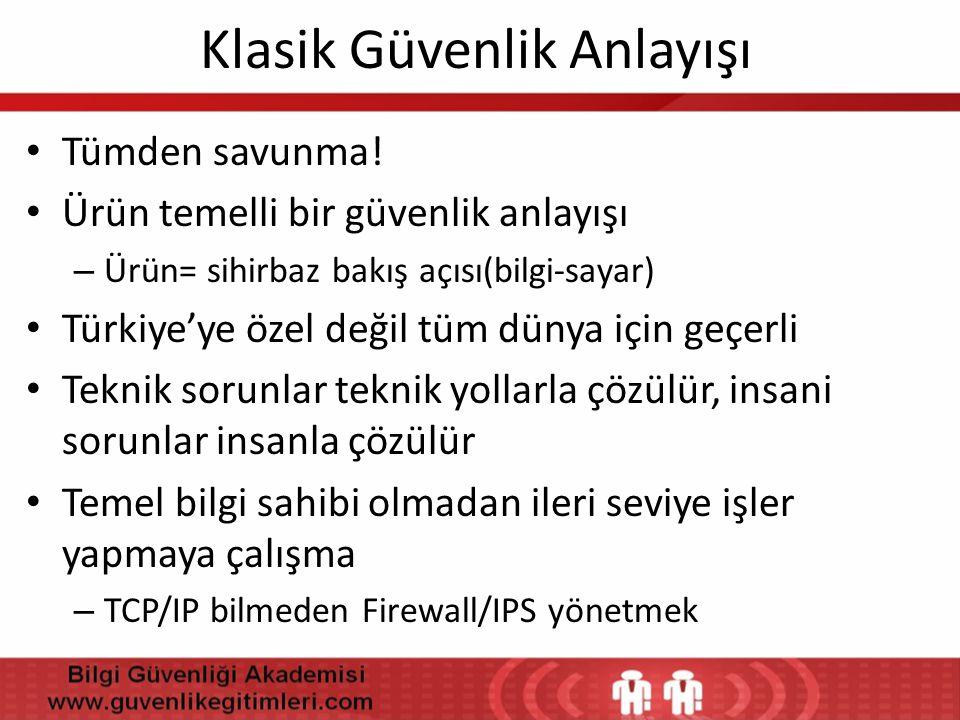 Klasik Güvenlik Anlayışı • Tümden savunma! • Ürün temelli bir güvenlik anlayışı – Ürün= sihirbaz bakış açısı(bilgi-sayar) • Türkiye'ye özel değil tüm