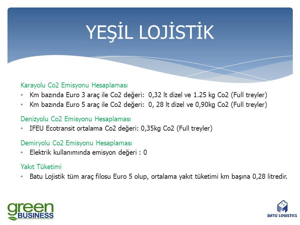 Karayolu Co2 Emisyonu Hesaplaması • Km bazında Euro 3 araç ile Co2 değeri: 0,32 lt dizel ve 1.25 kg Co2 (Full treyler) • Km bazında Euro 5 araç ile Co