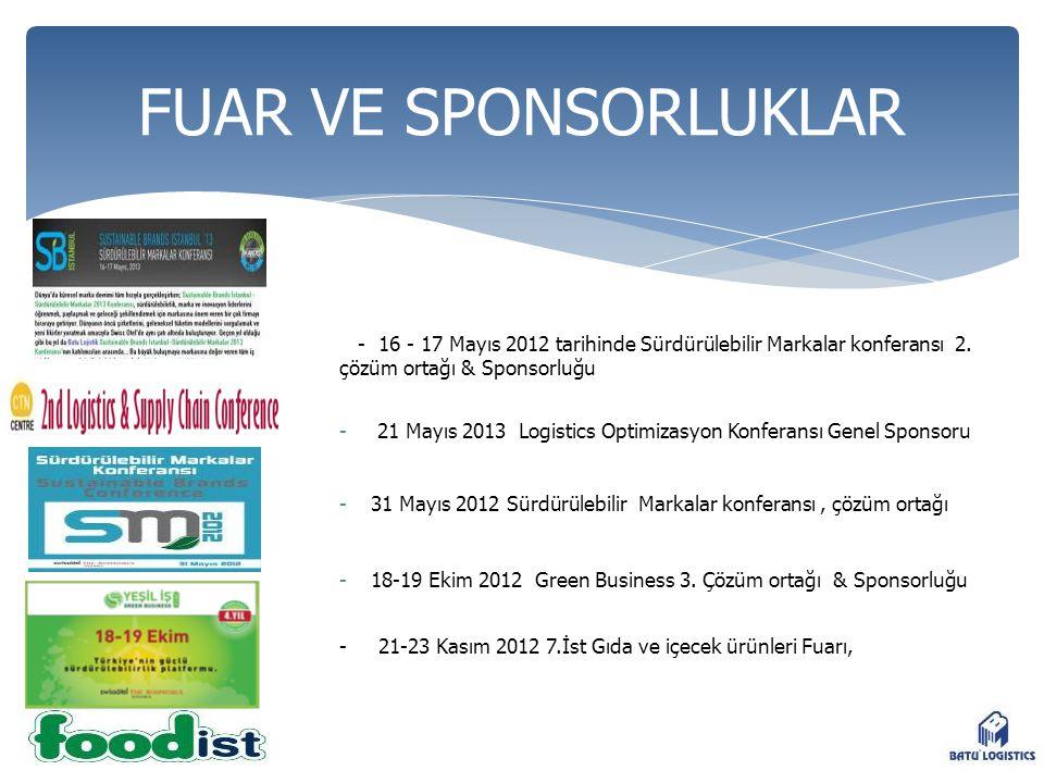- 16 - 17 Mayıs 2012 tarihinde Sürdürülebilir Markalar konferansı 2. çözüm ortağı & Sponsorluğu - 21 Mayıs 2013 Logistics Optimizasyon Konferansı Gene