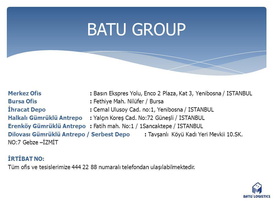 Merkez Ofis : Basın Ekspres Yolu, Enco 2 Plaza, Kat 3, Yenibosna / ISTANBUL Bursa Ofis : Fethiye Mah. Nilüfer / Bursa İhracat Depo : Cemal Ulusoy Cad.