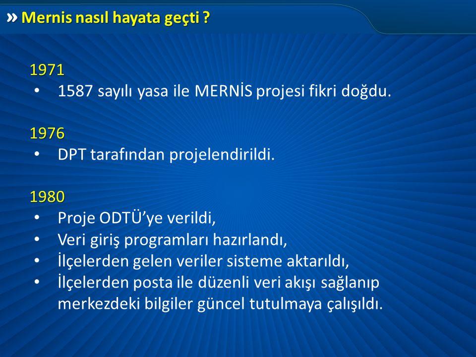 » Mernis nasıl hayata geçti ? 1971 1971 • 1587 sayılı yasa ile MERNİS projesi fikri doğdu. 1976 1976 • DPT tarafından projelendirildi. 1980 1980 • Pro