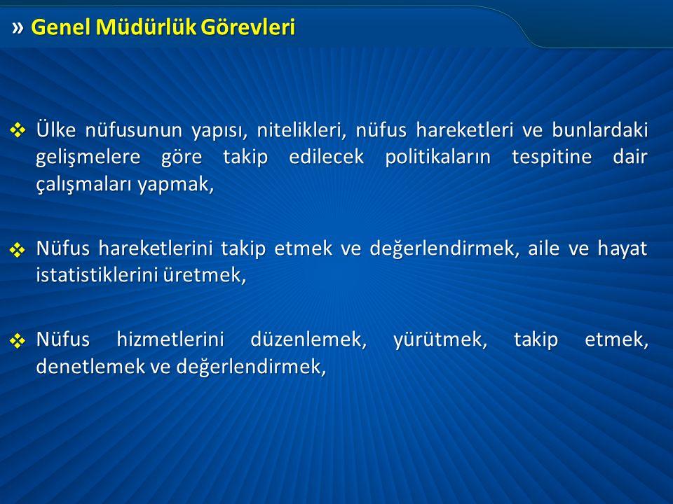 » Genel Müdürlük Görevleri Ülke nüfusunun yapısı, nitelikleri, nüfus hareketleri ve bunlardaki gelişmelere göre takip edilecek politikaların tespitine