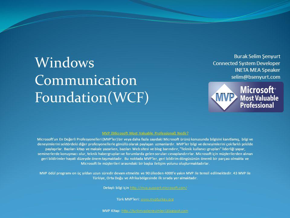 Visual Studio 2008 Yenilikleri  WcfSvcHost.exe (Otomatik Host aracı)  WcfTestClient.exe (Hazır test amaçlı istemci uygulama)  WCF Service Library çeşitleri  WCF Service Library  Syndication Service Library  Sequential Workflow Service Library  State Machine Workflow Service Library  Service Reference Settings