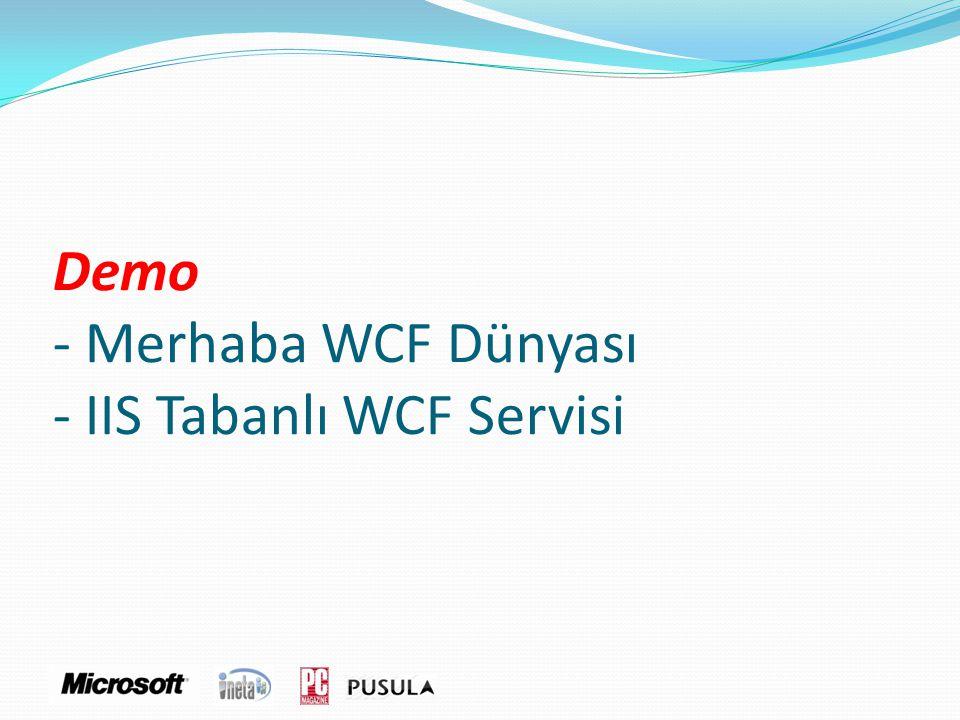 Demo - Merhaba WCF Dünyası - IIS Tabanlı WCF Servisi