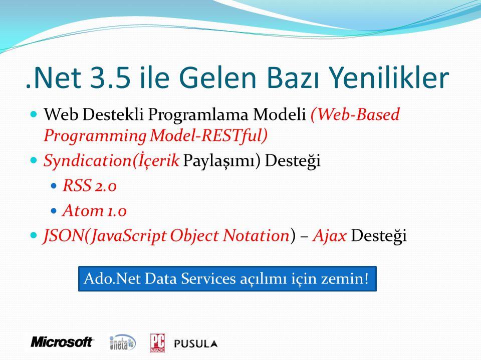.Net 3.5 ile Gelen Bazı Yenilikler  Web Destekli Programlama Modeli (Web-Based Programming Model-RESTful)  Syndication(İçerik Paylaşımı) Desteği  R