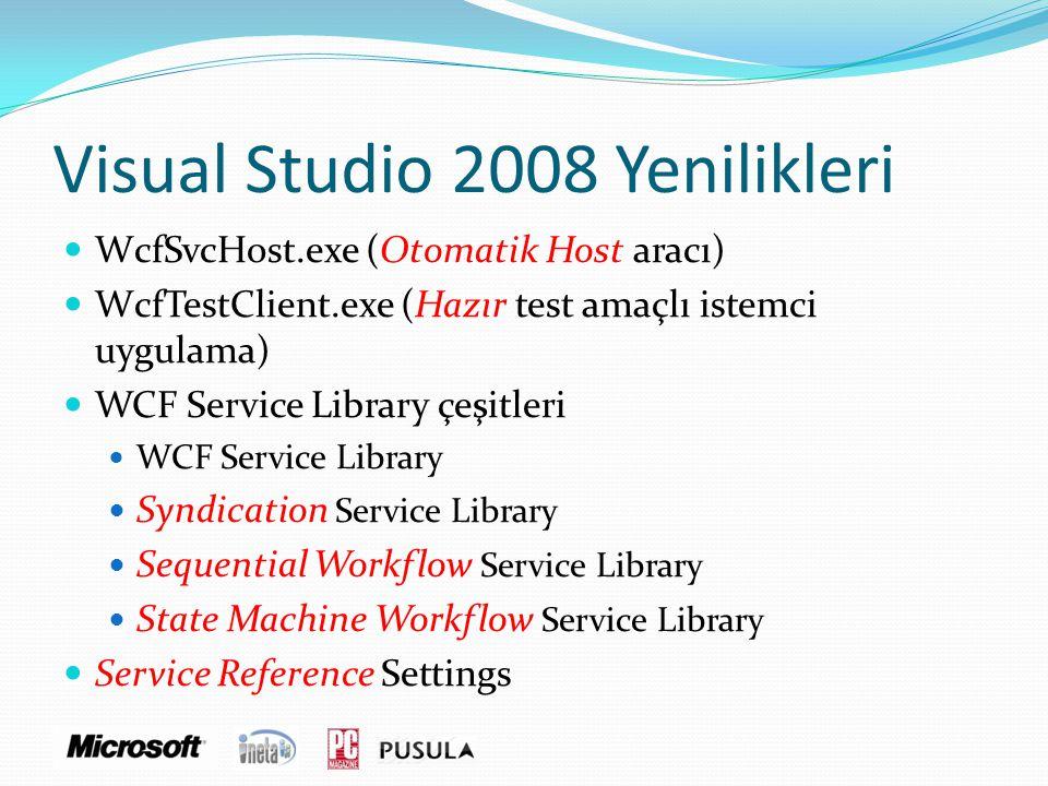 Visual Studio 2008 Yenilikleri  WcfSvcHost.exe (Otomatik Host aracı)  WcfTestClient.exe (Hazır test amaçlı istemci uygulama)  WCF Service Library ç