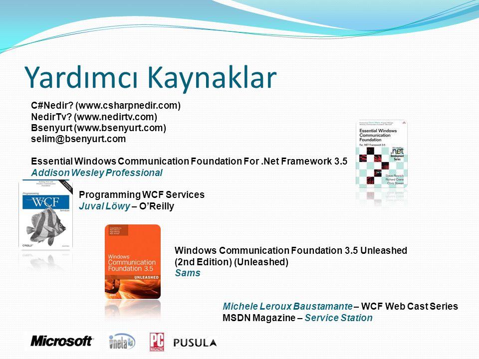 Yardımcı Kaynaklar C#Nedir? (www.csharpnedir.com) NedirTv? (www.nedirtv.com) Bsenyurt (www.bsenyurt.com) selim@bsenyurt.com Essential Windows Communic