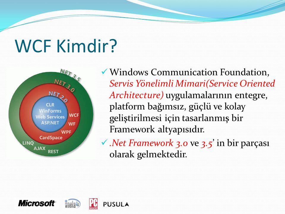WCF Kimdir?  Windows Communication Foundation, Servis Yönelimli Mimari(Service Oriented Architecture) uygulamalarının entegre, platform bağımsız, güç