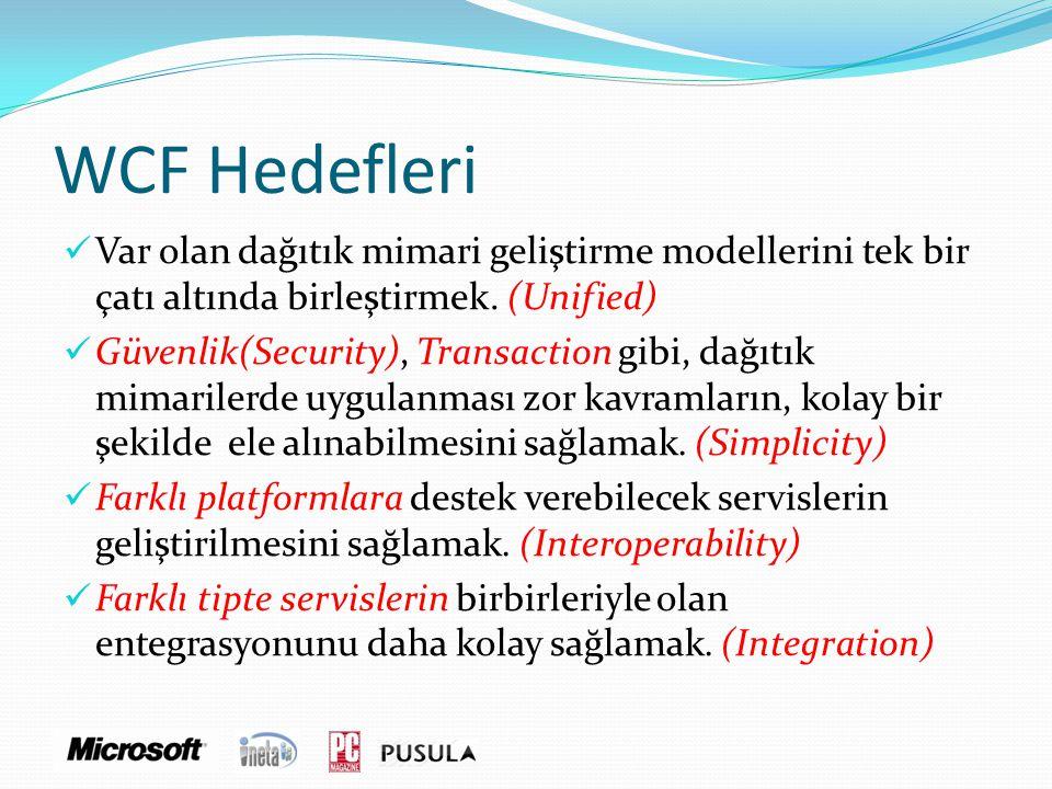 WCF Hedefleri - Entegrasyon  COM+ .Net Remoting  XML Web Services  WSE  WS-*  MSMQ ...