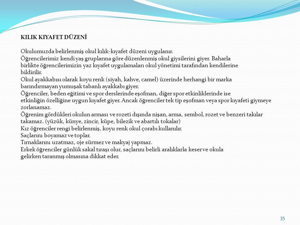 İstanbul'un Kurtuluşu 6 Ekim Cumhuriyet Bayramı 29 Ekim Atatürk Haftası 10 – 16 Kasım Öğretmenler Günü 24 Kasım Sivil Savunma Günü 28 Şubat İstiklal Marşının Kabulü ve Mehmet Akif Ersoy'u Anma Günü 12 Mart Çanakkale Zaferi 18 Mart Kutlu Doğum Haftası 20 – 26 Nisan Ulusal Egemenlik ve Çocuk Bayramı 23 Nisan Atatürk'ü Anma Gençlik ve Spor Bayramı 19 Mayıs ANMA KUTLAMA GÜNLERİ 34