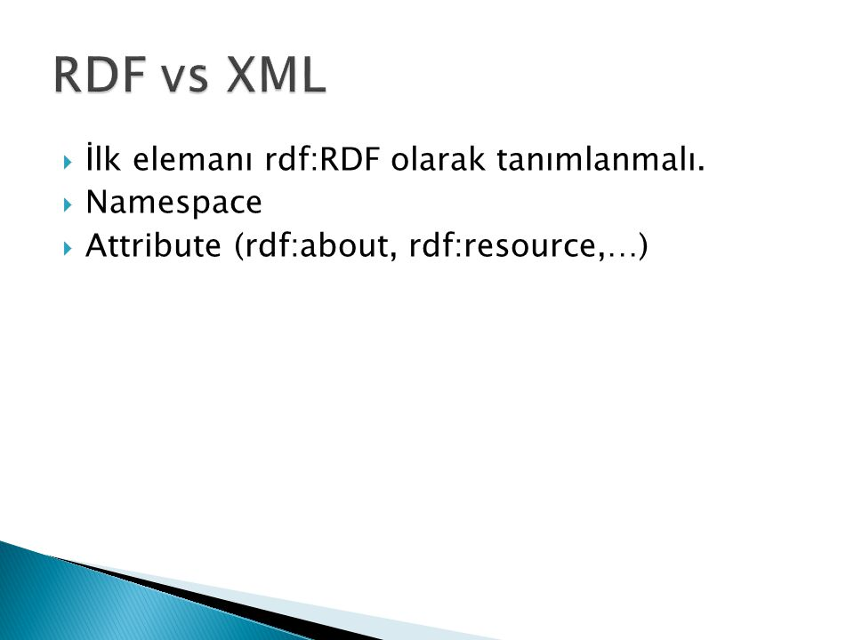  İlk elemanı rdf:RDF olarak tanımlanmalı.  Namespace  Attribute (rdf:about, rdf:resource,…)