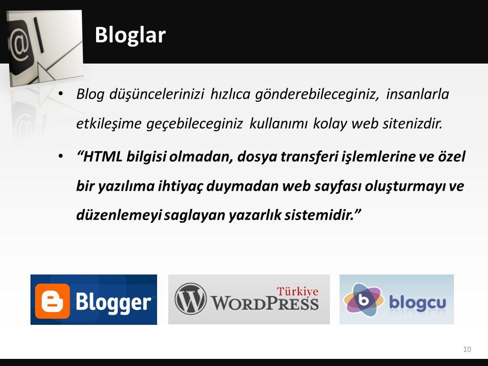 Bloglar • Blog düşüncelerinizi hızlıca gönderebileceginiz, insanlarla etkileşime geçebileceginiz kullanımı kolay web sitenizdir.