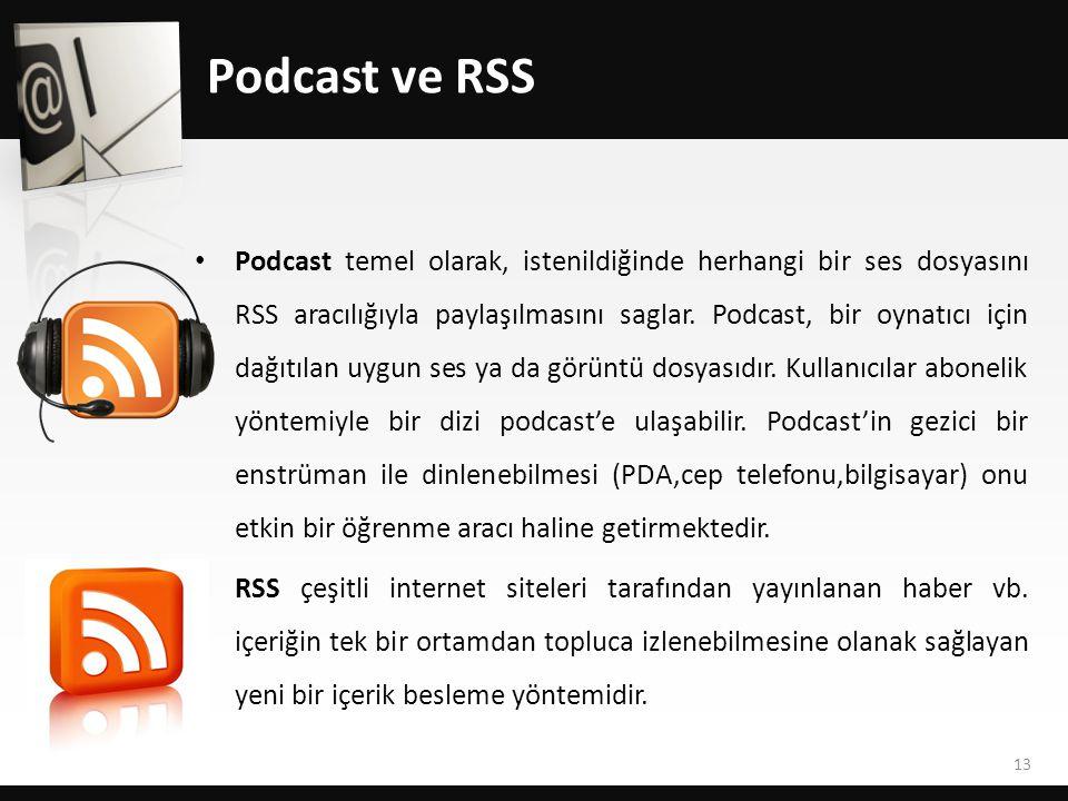 Podcast ve RSS • Podcast temel olarak, istenildiğinde herhangi bir ses dosyasını RSS aracılığıyla paylaşılmasını saglar.