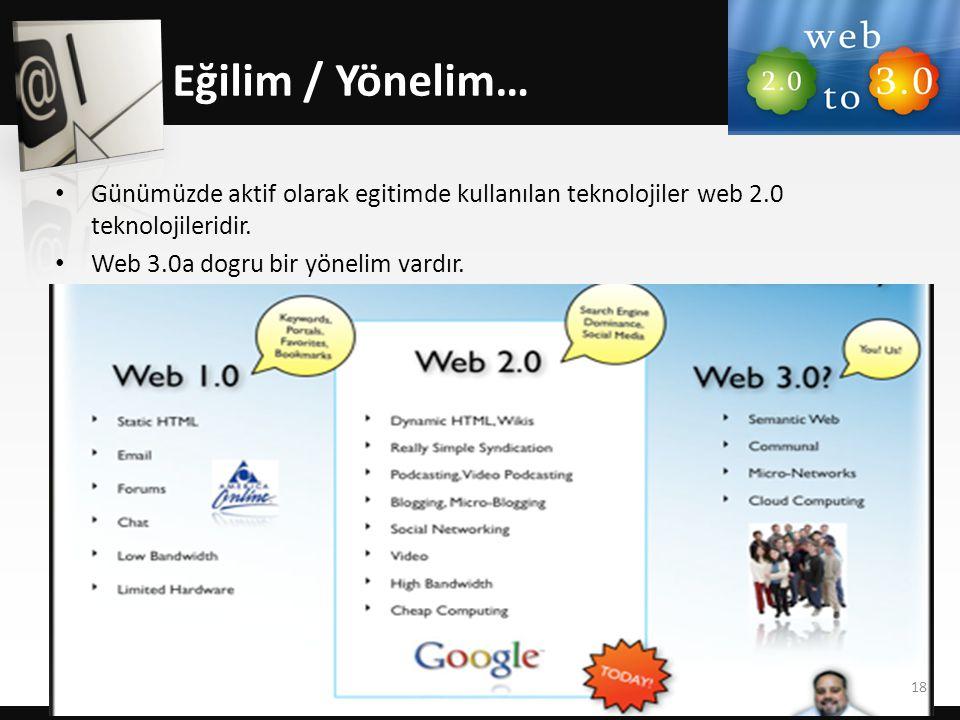 • Günümüzde aktif olarak egitimde kullanılan teknolojiler web 2.0 teknolojileridir. • Web 3.0a dogru bir yönelim vardır. Eğilim / Yönelim… 18