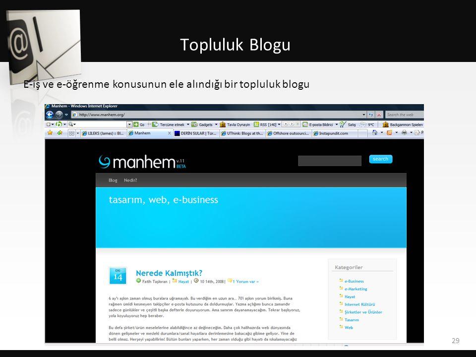 Topluluk Blogu 29 E-iş ve e-öğrenme konusunun ele alındığı bir topluluk blogu