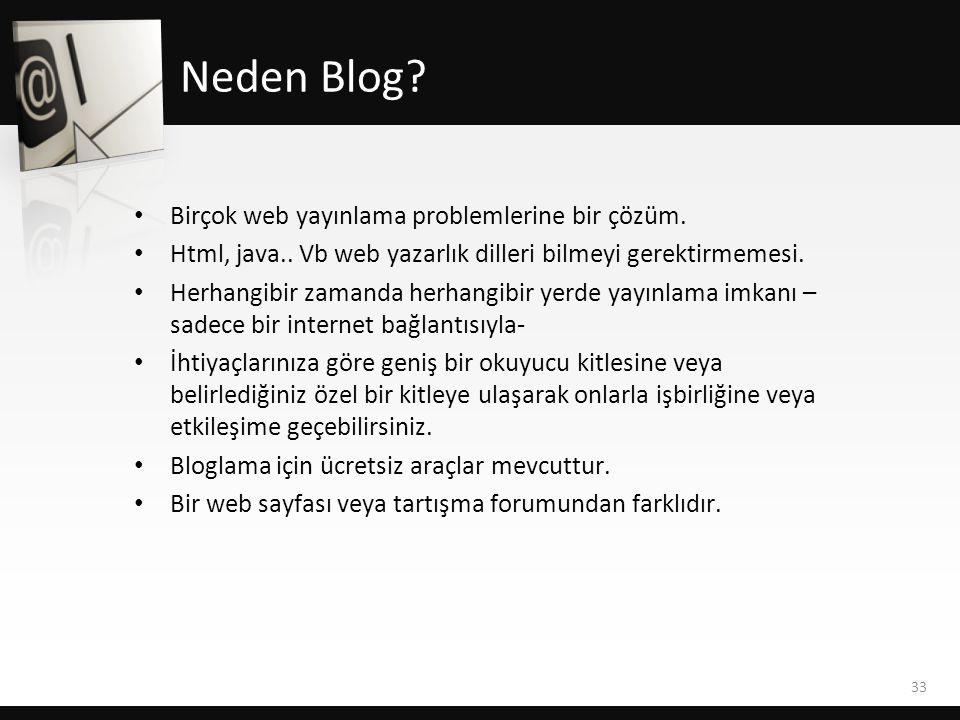 • Birçok web yayınlama problemlerine bir çözüm. • Html, java.. Vb web yazarlık dilleri bilmeyi gerektirmemesi. • Herhangibir zamanda herhangibir yerde