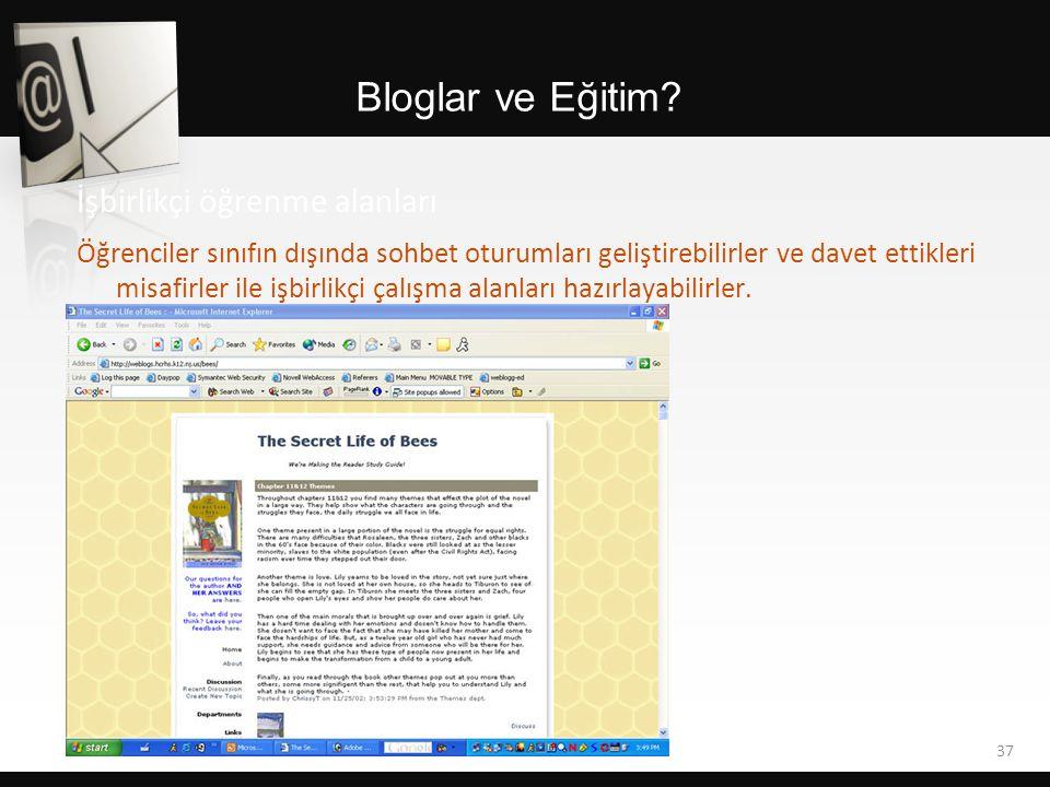 Bloglar ve Eğitim? Öğrenciler sınıfın dışında sohbet oturumları geliştirebilirler ve davet ettikleri misafirler ile işbirlikçi çalışma alanları hazırl