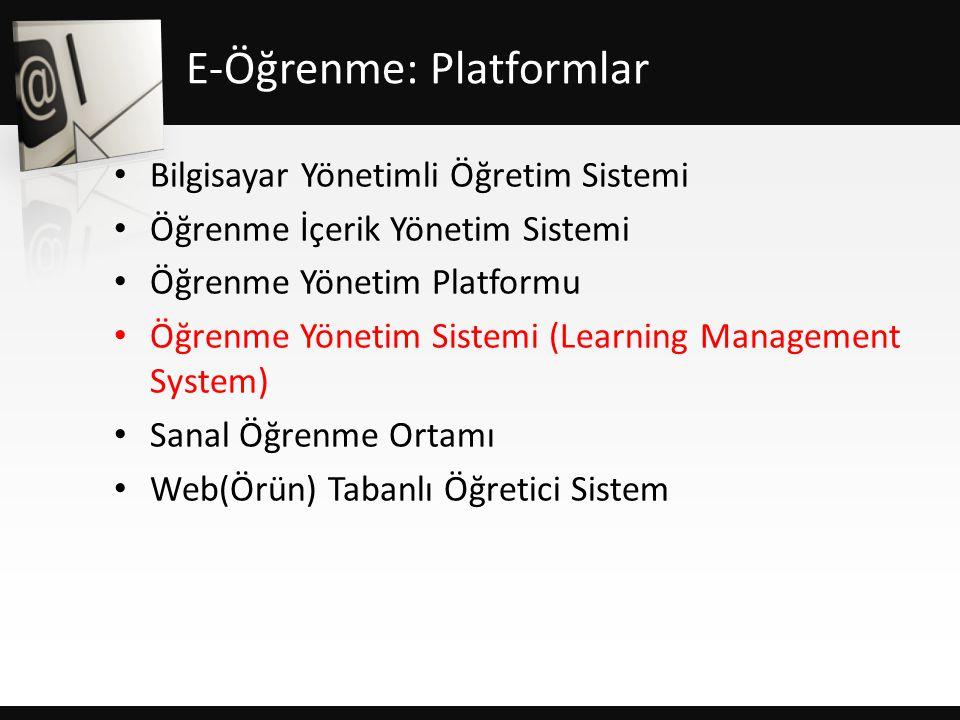 E-Öğrenme: Platformlar • Bilgisayar Yönetimli Öğretim Sistemi • Öğrenme İçerik Yönetim Sistemi • Öğrenme Yönetim Platformu • Öğrenme Yönetim Sistemi (Learning Management System) • Sanal Öğrenme Ortamı • Web(Örün) Tabanlı Öğretici Sistem