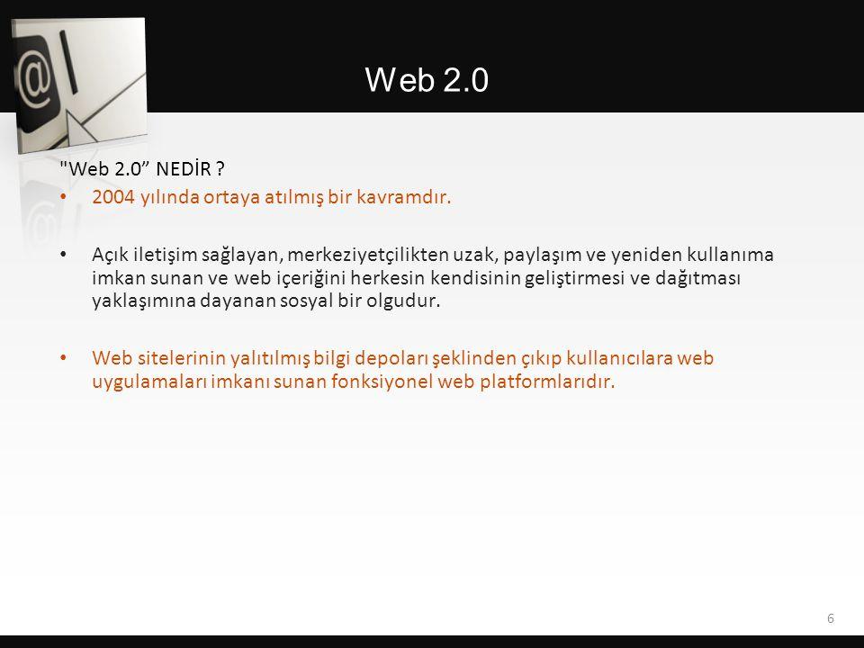Web 2.0 NEDİR .• 2004 yılında ortaya atılmış bir kavramdır.