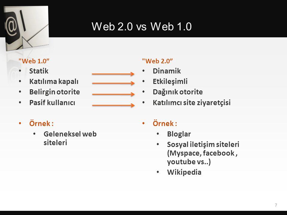 Web 1.0 • Statik • Katılıma kapalı • Belirgin otorite • Pasif kullanıcı • Örnek : • Geleneksel web siteleri Web 2.0 vs Web 1.0 Web 2.0 • Dinamik • Etkileşimli • Dağınık otorite • Katılımcı site ziyaretçisi • Örnek : • Bloglar • Sosyal iletişim siteleri (Myspace, facebook, youtube vs..) • Wikipedia 7