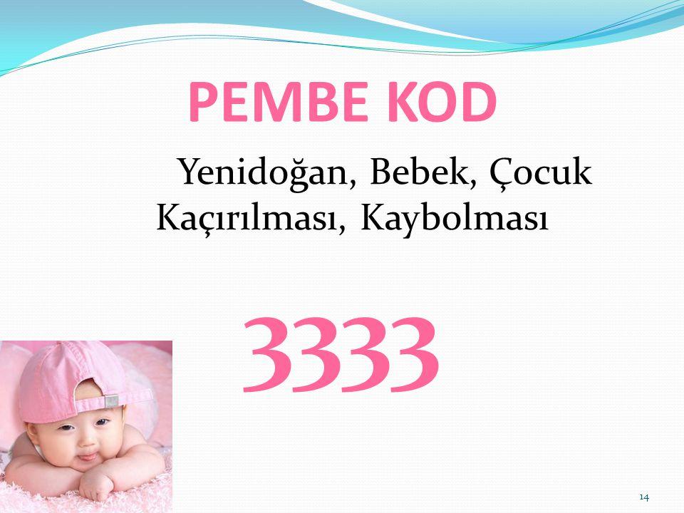 PEMBE KOD Yenidoğan, Bebek, Çocuk Kaçırılması, Kaybolması 3333 14
