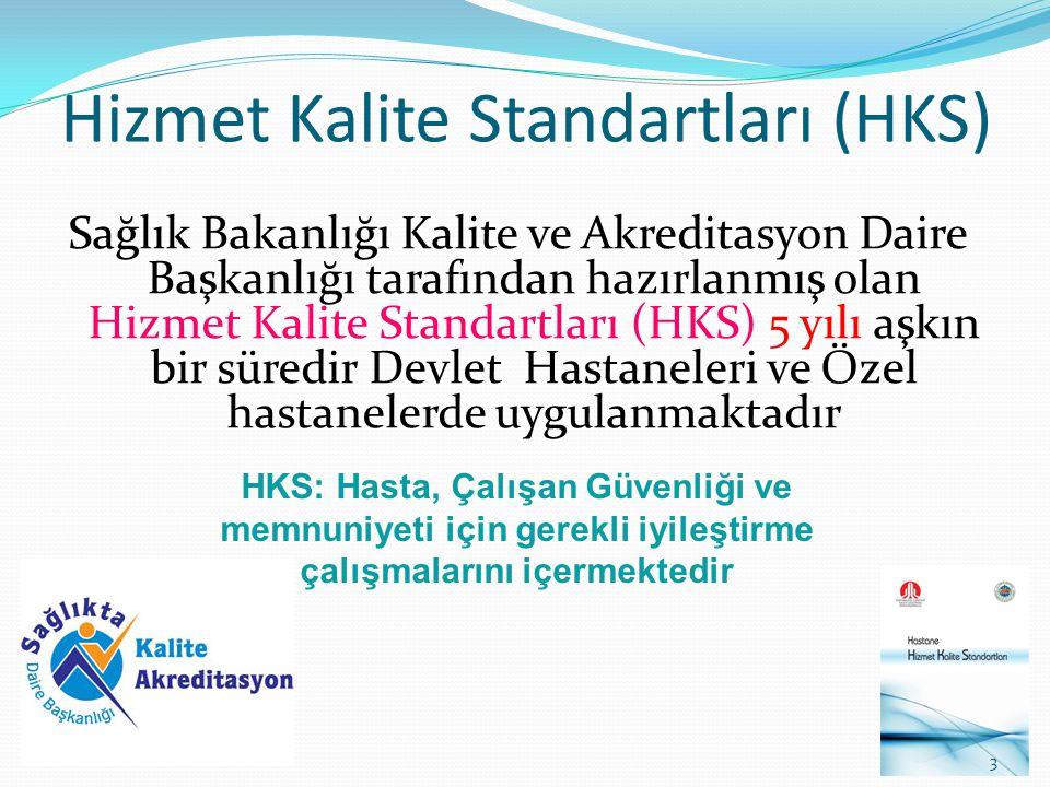 Hizmet Kalite Standartları (HKS) Sağlık Bakanlığı Kalite ve Akreditasyon Daire Başkanlığı tarafından hazırlanmış olan Hizmet Kalite Standartları (HKS)