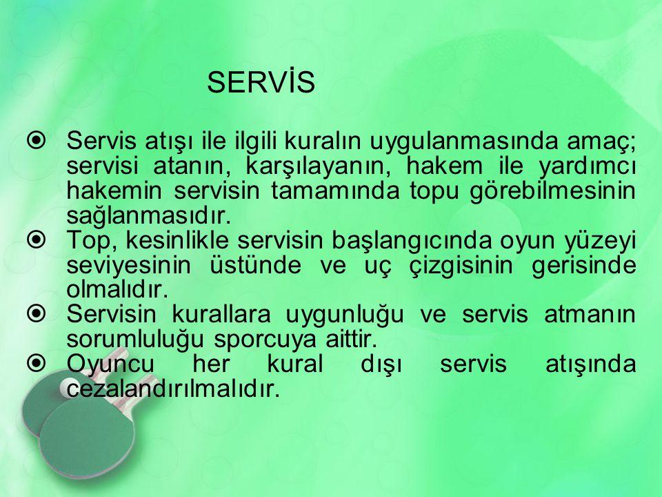 SERVİS  Servis atışı ile ilgili kuralın uygulanmasında amaç; servisi atanın, karşılayanın, hakem ile yardımcı hakemin servisin tamamında topu görebilmesinin sağlanmasıdır.