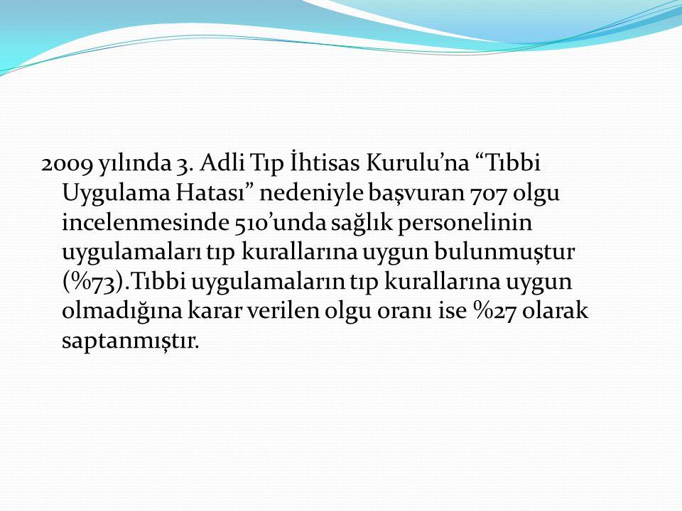 """2009 yılında 3. Adli Tıp İhtisas Kurulu'na """"Tıbbi Uygulama Hatası"""" nedeniyle başvuran 707 olgu incelenmesinde 510'unda sağlık personelinin uygulamalar"""