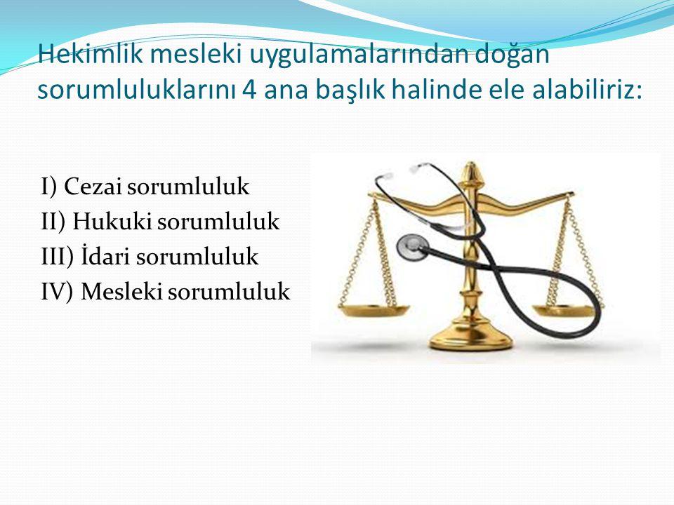 Hekimlik mesleki uygulamalarından doğan sorumluluklarını 4 ana başlık halinde ele alabiliriz: I) Cezai sorumluluk II) Hukuki sorumluluk III) İdari sor