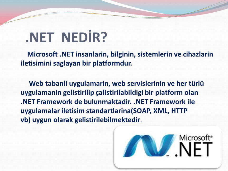 .NET NEDİR? Microsoft.NET insanlarin, bilginin, sistemlerin ve cihazlarin iletisimini saglayan bir platformdur. Web tabanli uygulamarin, web servisler