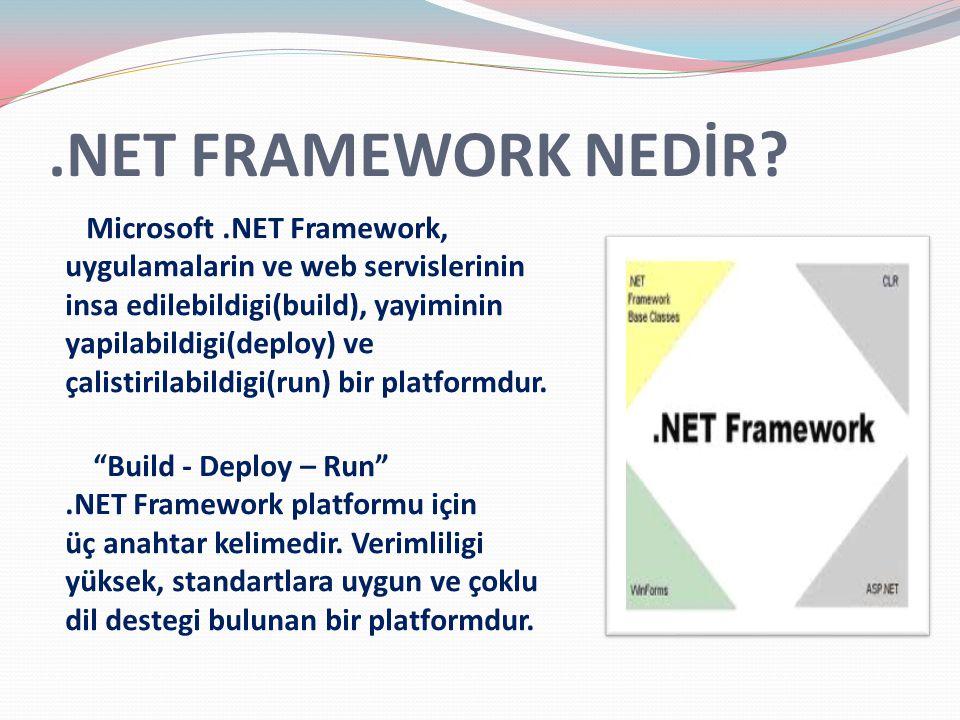 .NET FRAMEWORK NEDİR? Microsoft.NET Framework, uygulamalarin ve web servislerinin insa edilebildigi(build), yayiminin yapilabildigi(deploy) ve çalisti
