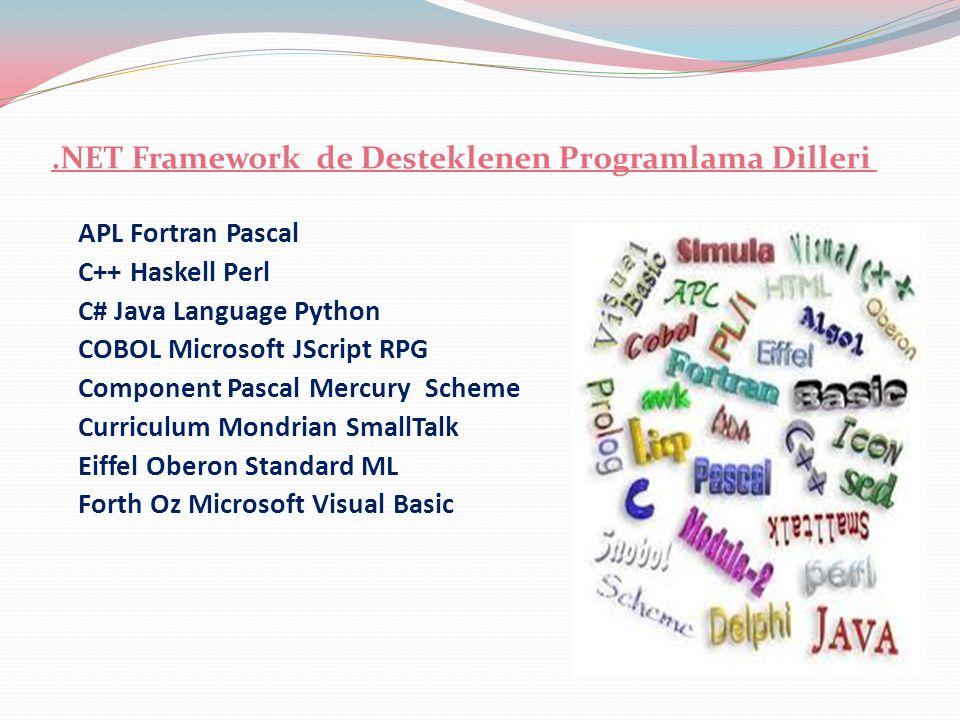 .NET Framework de Desteklenen Programlama Dilleri APL Fortran Pascal C++ Haskell Perl C# Java Language Python COBOL Microsoft JScript RPG Component Pa