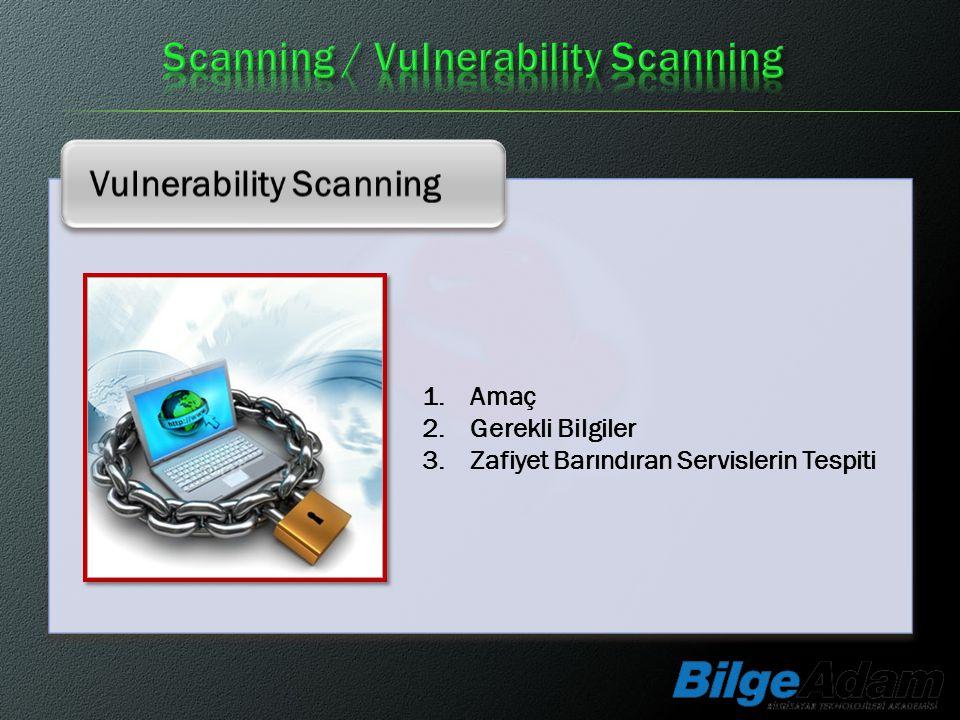 Vulnerability Scanning 1.Amaç 2.Gerekli Bilgiler 3.Zafiyet Barındıran Servislerin Tespiti