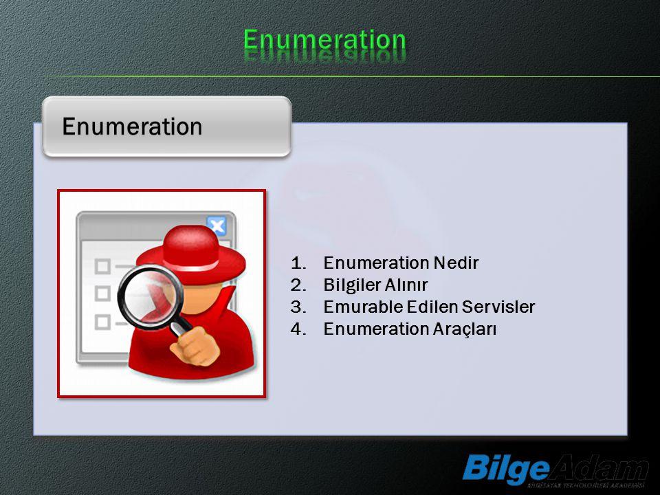 Enumeration 1.Enumeration Nedir 2.Bilgiler Alınır 3.Emurable Edilen Servisler 4.Enumeration Araçları