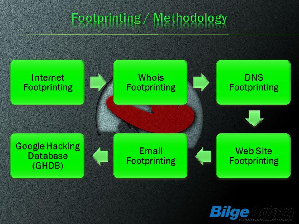 Internet Footprinting Whois Footprinting DNS Footprinting Web Site Footprinting Email Footprinting Google Hacking Database (GHDB)