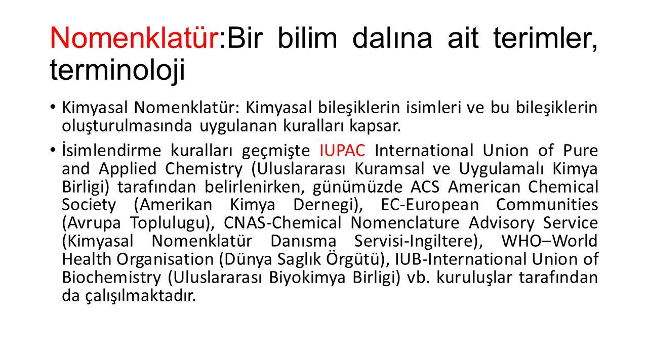 Nomenklatür:Bir bilim dalına ait terimler, terminoloji • Kimyasal Nomenklatür: Kimyasal bileşiklerin isimleri ve bu bileşiklerin oluşturulmasında uygu