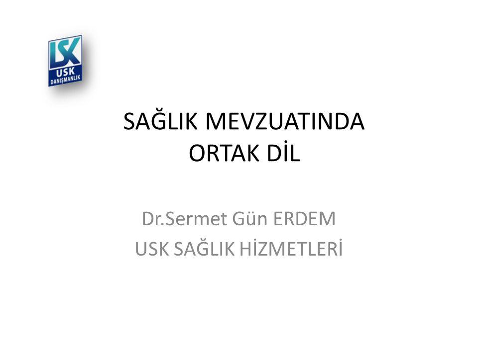 SAĞLIK MEVZUATINDA ORTAK DİL Dr.Sermet Gün ERDEM USK SAĞLIK HİZMETLERİ