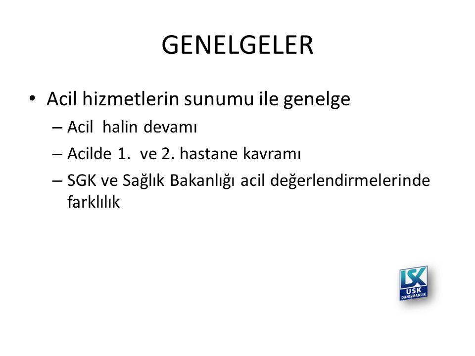 GENELGELER • Acil hizmetlerin sunumu ile genelge – Acil halin devamı – Acilde 1. ve 2. hastane kavramı – SGK ve Sağlık Bakanlığı acil değerlendirmeler