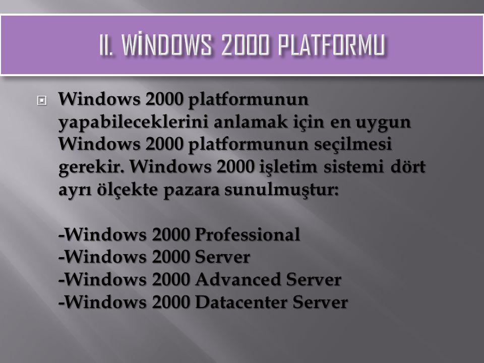  Windows 2000 platformunun yapabileceklerini anlamak için en uygun Windows 2000 platformunun seçilmesi gerekir. Windows 2000 işletim sistemi dört ayr