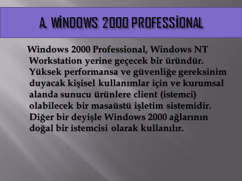 Windows 2000 Professional, Windows NT Workstation yerine geçecek bir üründür. Yüksek performansa ve güvenliğe gereksinim duyacak kişisel kullanımlar i