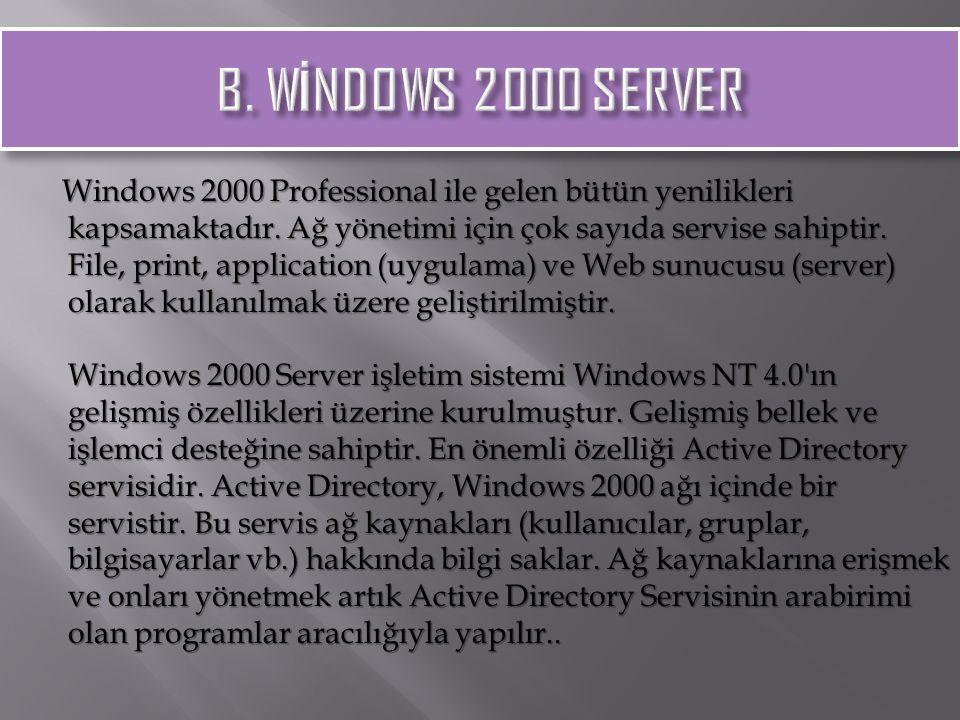 Windows 2000 Professional ile gelen bütün yenilikleri kapsamaktadır. Ağ yönetimi için çok sayıda servise sahiptir. File, print, application (uygulama)