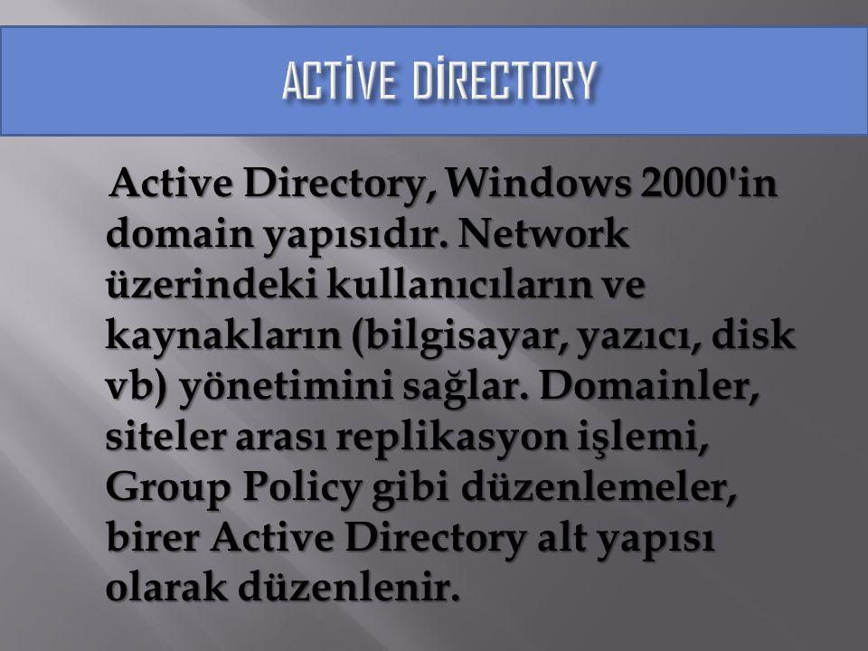 Active Directory, Windows 2000'in domain yapısıdır. Network üzerindeki kullanıcıların ve kaynakların (bilgisayar, yazıcı, disk vb) yönetimini sağlar.