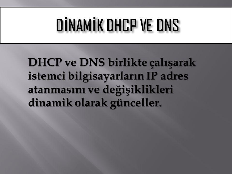 DHCP ve DNS birlikte çalışarak istemci bilgisayarların IP adres atanmasını ve değişiklikleri dinamik olarak günceller.