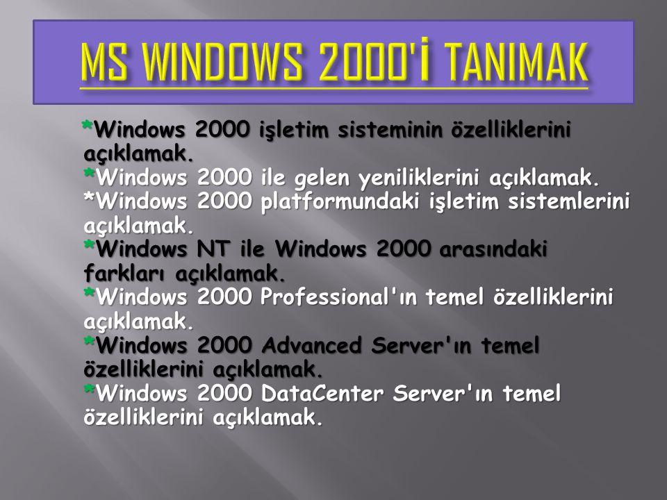 *Windows 2000 işletim sisteminin özelliklerini açıklamak. *Windows 2000 ile gelen yeniliklerini açıklamak. *Windows 2000 platformundaki işletim sistem