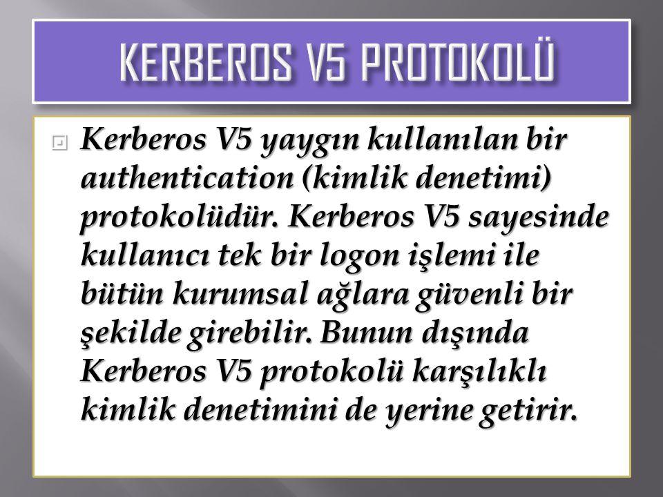  Kerberos V5 yaygın kullanılan bir authentication (kimlik denetimi) protokolüdür. Kerberos V5 sayesinde kullanıcı tek bir logon işlemi ile bütün kuru