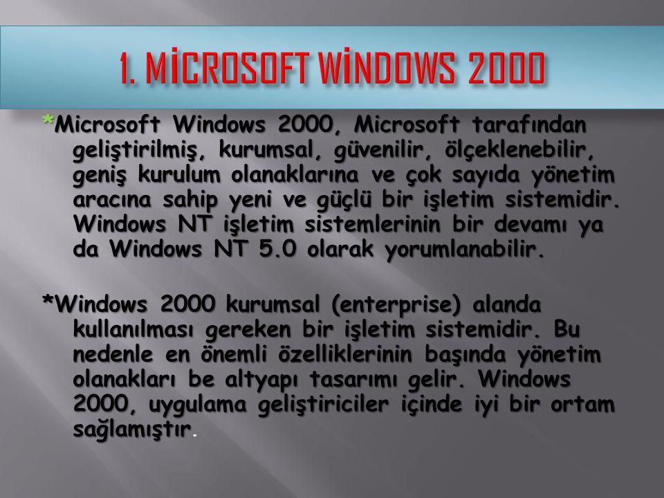 *Microsoft Windows 2000, Microsoft tarafından geliştirilmiş, kurumsal, güvenilir, ölçeklenebilir, geniş kurulum olanaklarına ve çok sayıda yönetim ara