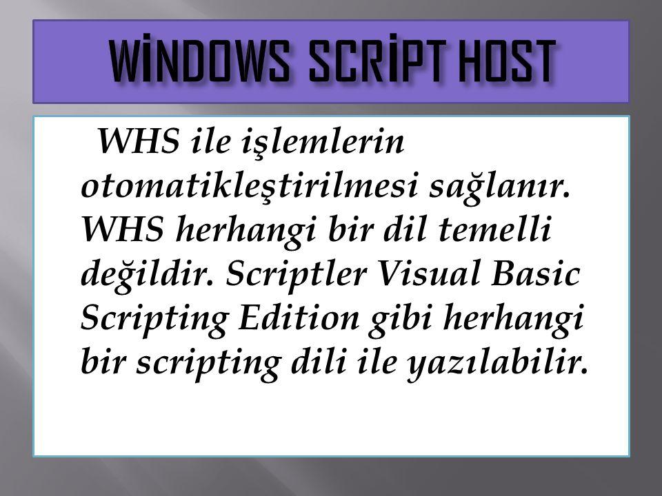 WHS ile işlemlerin otomatikleştirilmesi sağlanır. WHS herhangi bir dil temelli değildir. Scriptler Visual Basic Scripting Edition gibi herhangi bir sc