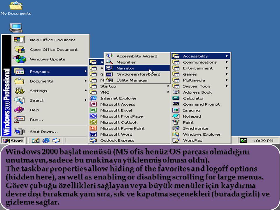 Windows 2000 başlat menüsü (MS ofis henüz OS parçası olmadığını unutmayın, sadece bu makinaya yüklenmiş olması oldu). The taskbar properties allow hid